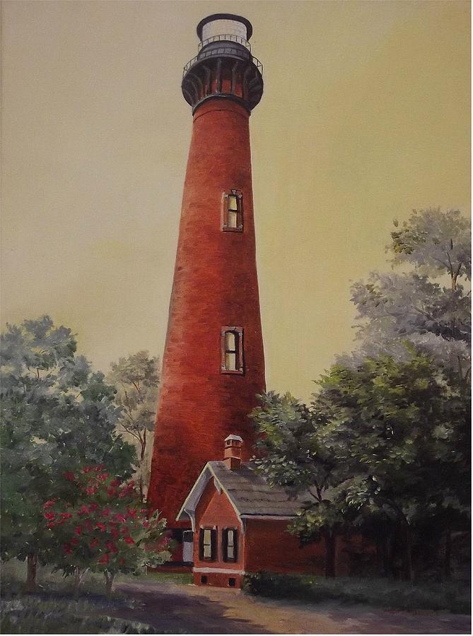 Lighthouse Painting - Currituck Lighthouse by Wanda Dansereau