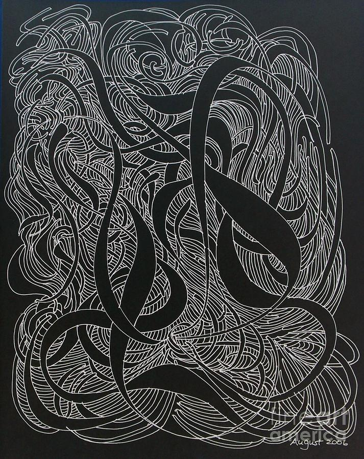 A Computer Effect Allows Me To Produce A negative And Enjoy My Art In Drawing - Cursive Curious 2 by Nancy Kane Chapman