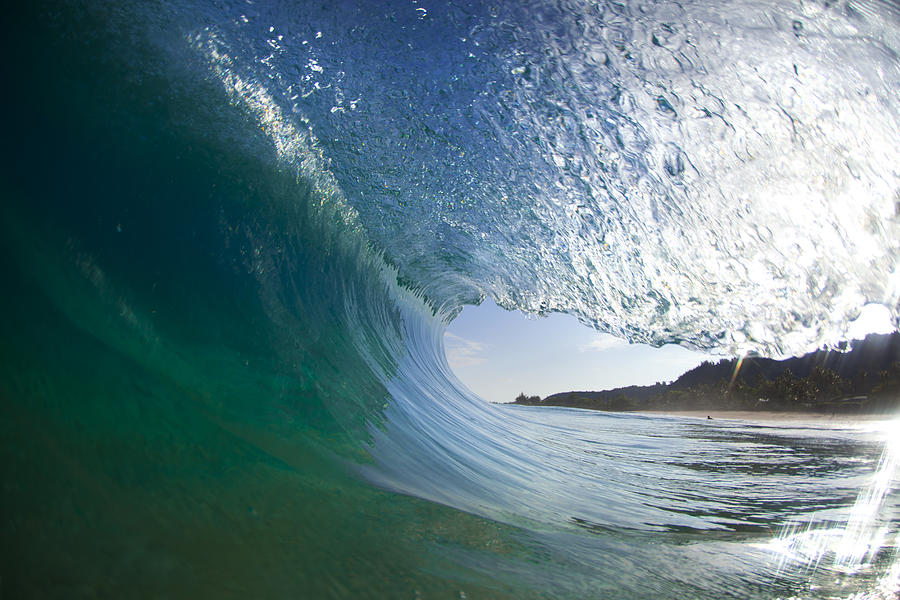 Wave Photograph - Curtain Coming Down by Sean Davey