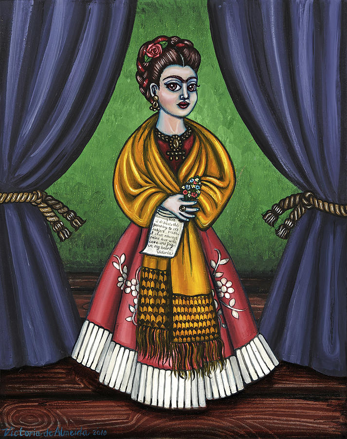 Frida Painting - Curtains For Frida by Victoria De Almeida