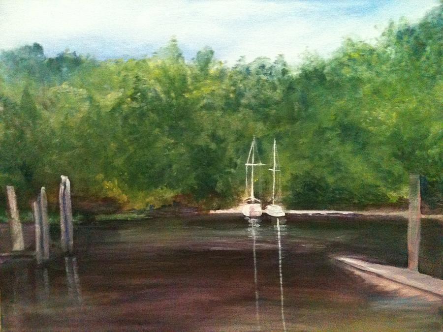 Plein Aire Painting - Curtains Marina by Sheila Mashaw