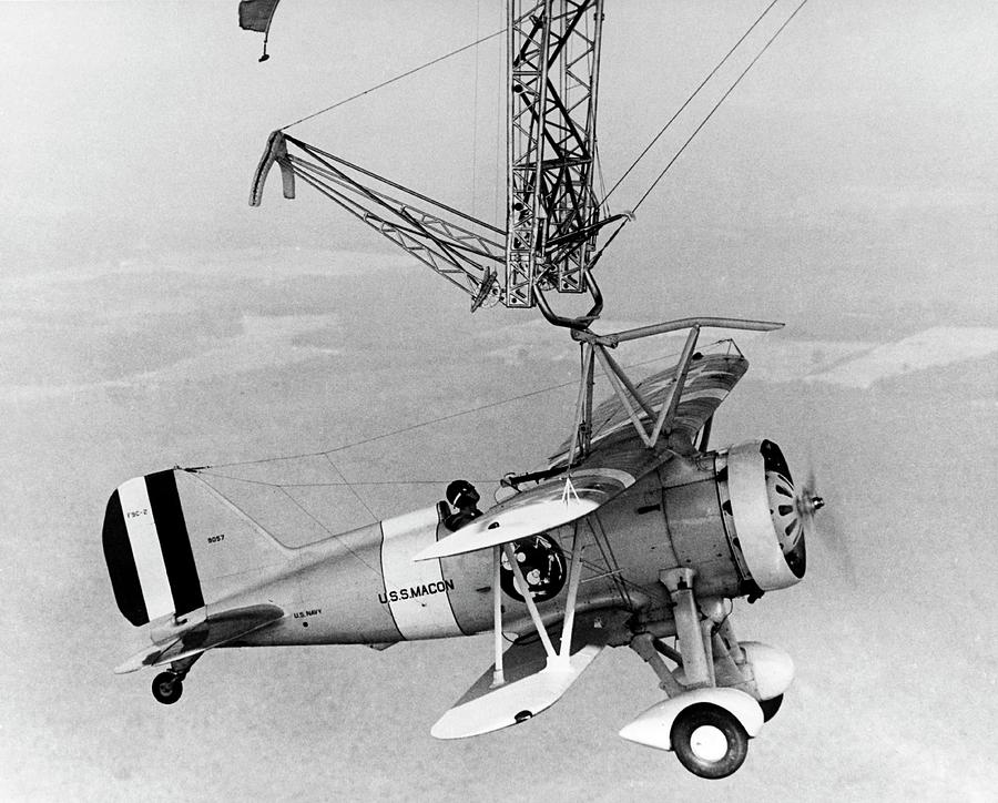 Black And White Photograph - Curtiss F9c-2 sparrowhawk Fighter Plane by Us Navy/science Photo Library