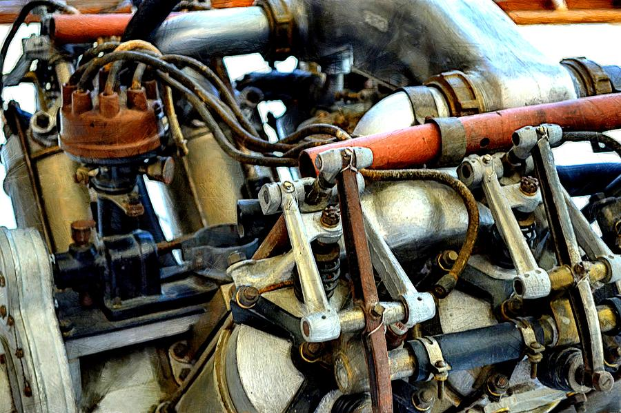Airplane Engine Photograph - Curtiss Ox-5 Airplane Engine by Michelle Calkins