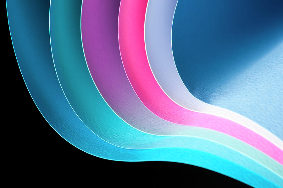 Curves Of Colored Papers On Black Photograph by Colormos