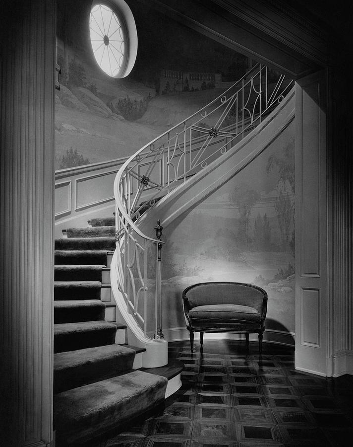 Curving Staircase In The Home Of  W. E. Sheppard Photograph by Maynard Parker