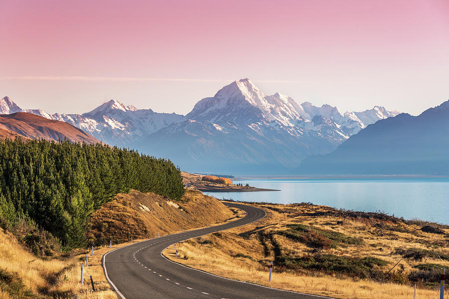 Curvy Road Leading To Mt Cook Aoraki At Photograph by Matteo Colombo