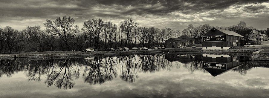 Williamsport Maryland Photograph - Cushwa Basin C And O Canal Black And White by Joshua House