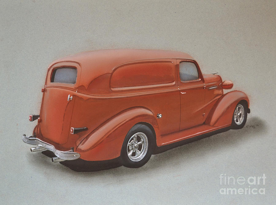 Muscle Drawing - Custom Delivery Truck by Paul Kuras