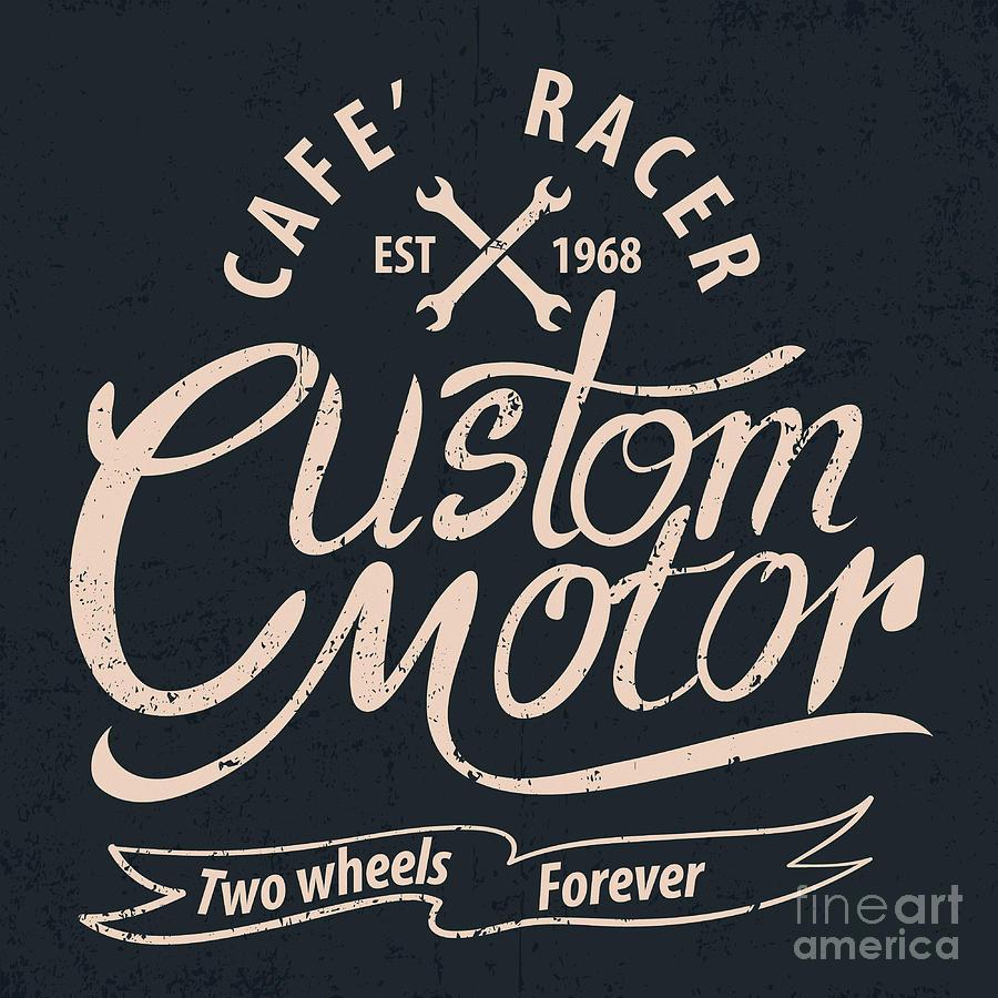 Motor Digital Art - Custom Motor Typographic by Vextor Studio