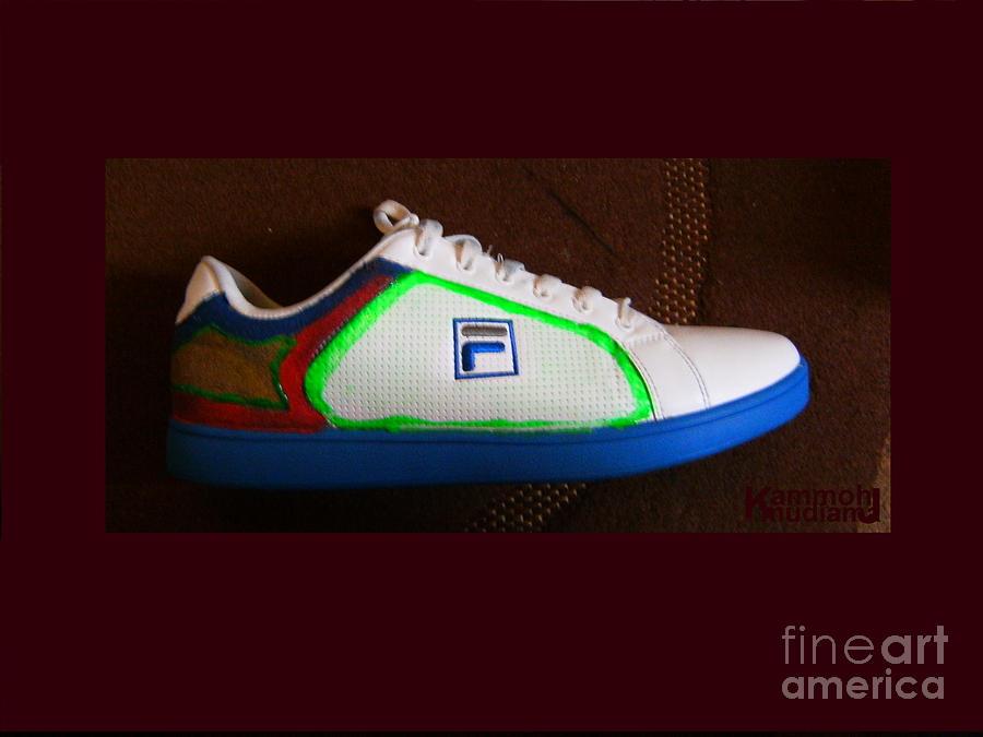 Shoes Painting - Customised Fila Trainer by Mudiama Kammoh