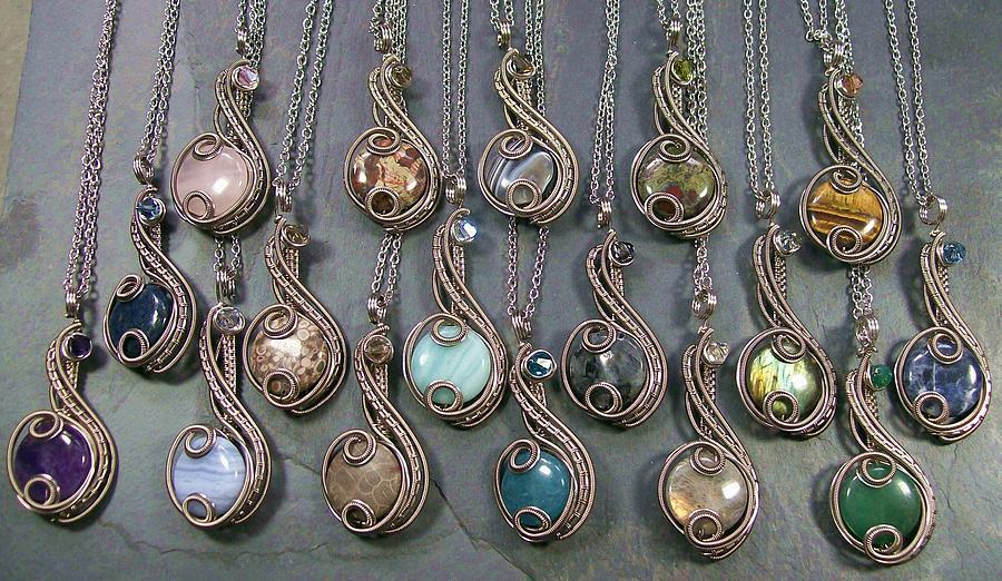 Wire Jewelry - Customizable Dark Silver And Swarovski Crystal Coriolis Pendant by Heather Jordan