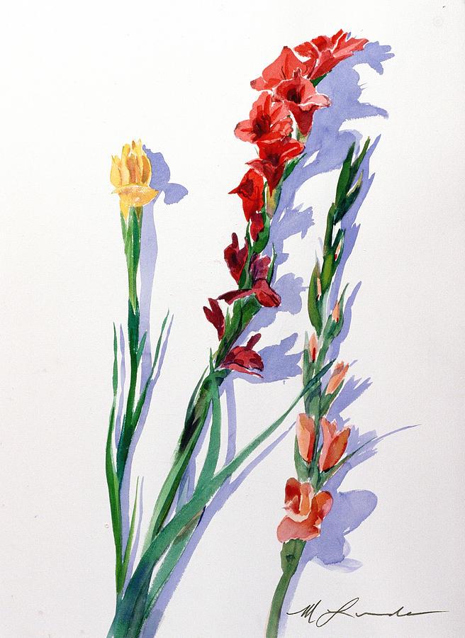 Gladiolas Painting - Cut Gladiols by Mark Lunde