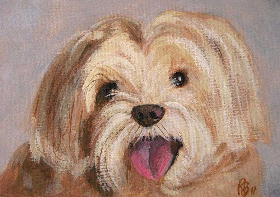 Cute And Happy Dog Portrait Painting By Robie Benve