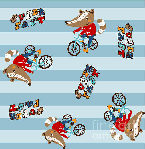 Typography Digital Art - Cute Animal Riding A Bicycle. Vector by Graphic7