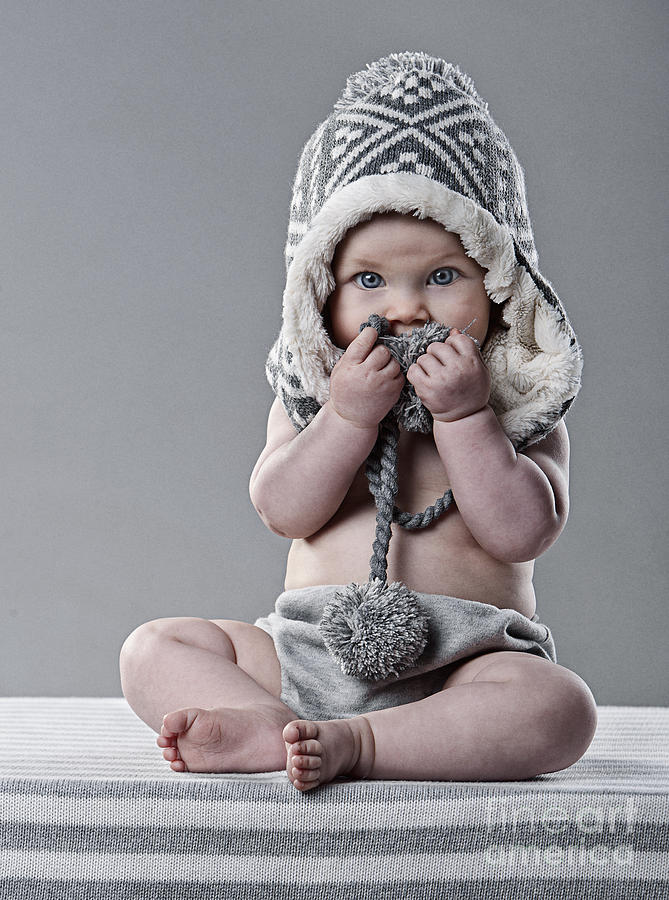 Baby Photograph - Cute Baby In Wool Hat by Justin Paget