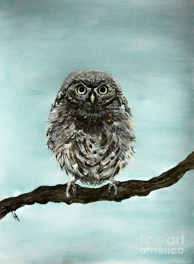 Cute Baby Owl Painting By Leslie Allen