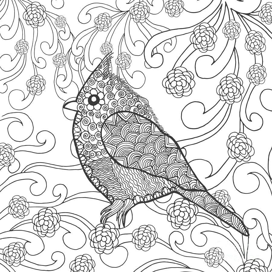 Symbol Digital Art - Cute Bird In Fantasy Flower Garden by Palomita