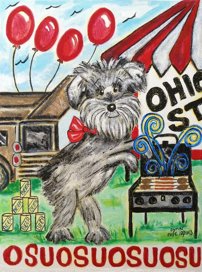 Tailgate Party Painting - Osu Tailgating Dog by Diane Pape