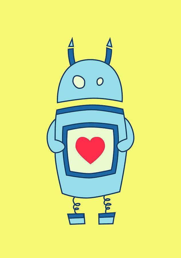 Bright Digital Art - Cute Clumsy Robot With Heart by Boriana Giormova