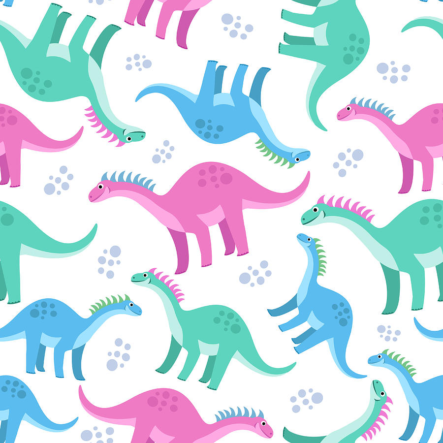 Cute Colorful Seamless Pattern With Digital Art by Ekaterina Bedoeva