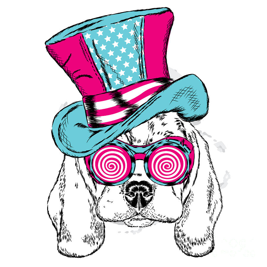 Magic Digital Art - Cute Dog In An Unusual Hat . Vector by Vitaly Grin
