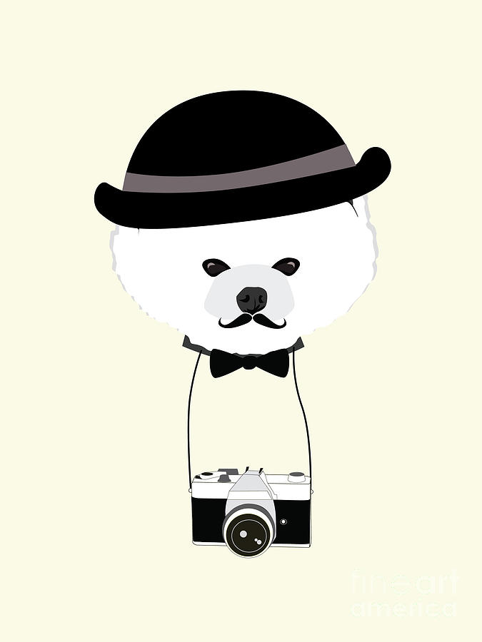Big Digital Art - Cute Dog Photographer With Old Camera by The Cute Design Studio