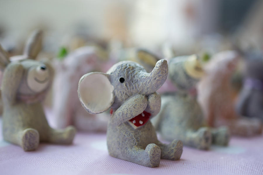 Ornaments Photograph - Cute Elephants by Andrew Lalchan