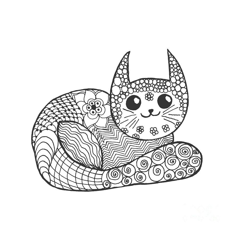 Pets Digital Art - Cute Kitten. Black White Hand Drawn by Palomita