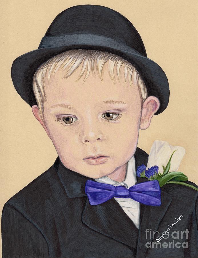 Boy Painting - Cute Little Boy In Suit by Sherry Goeben