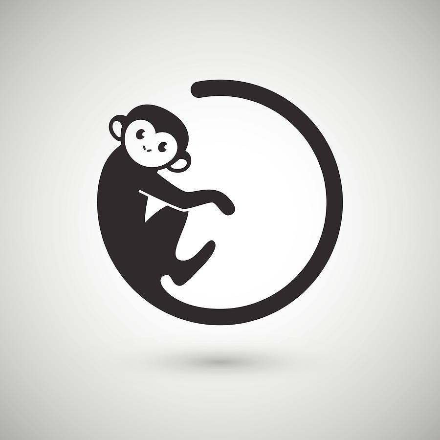 Cute Monkey , New Year 2016 Digital Art by Littlepaw