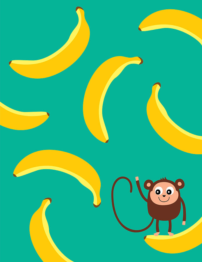 Cute Monkey And Banana Pattern Wallpaper