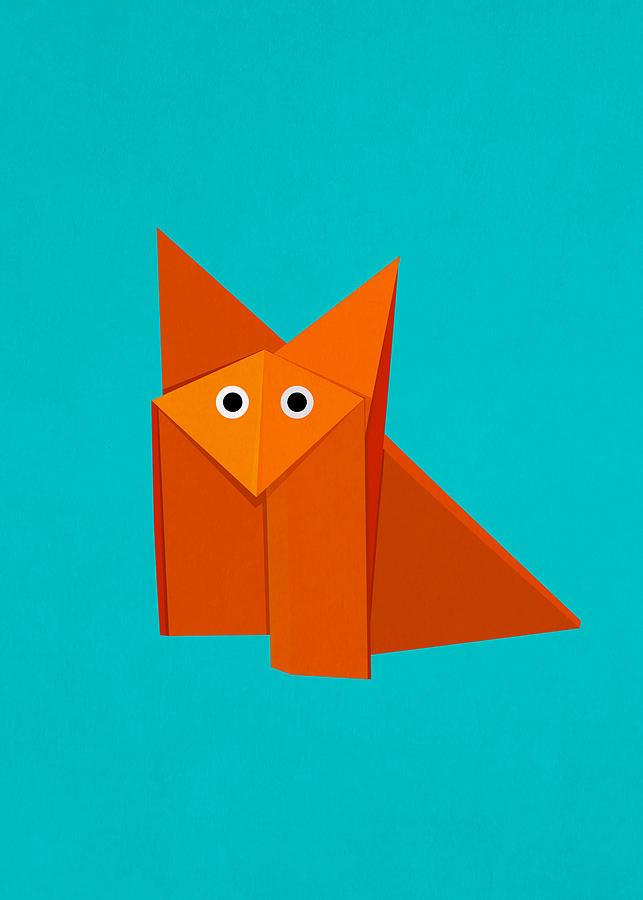Cute Digital Art - Cute Origami Fox by Boriana Giormova