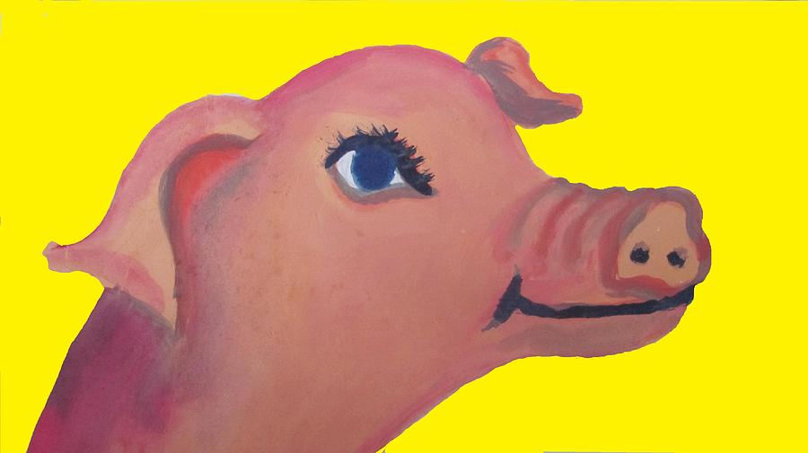 Cute Pig Painting - Cute Pig On Yellow by Cherie Sexsmith