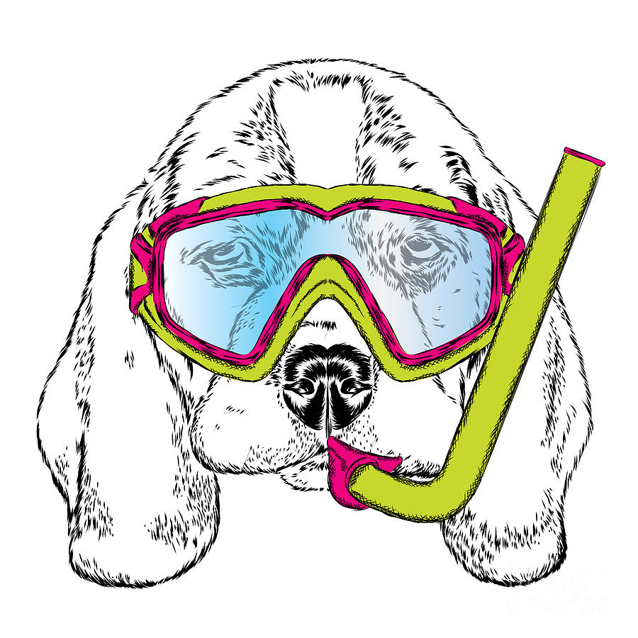 Trend Digital Art - Cute Puppy Wearing A Mask For Diving by Vitaly Grin
