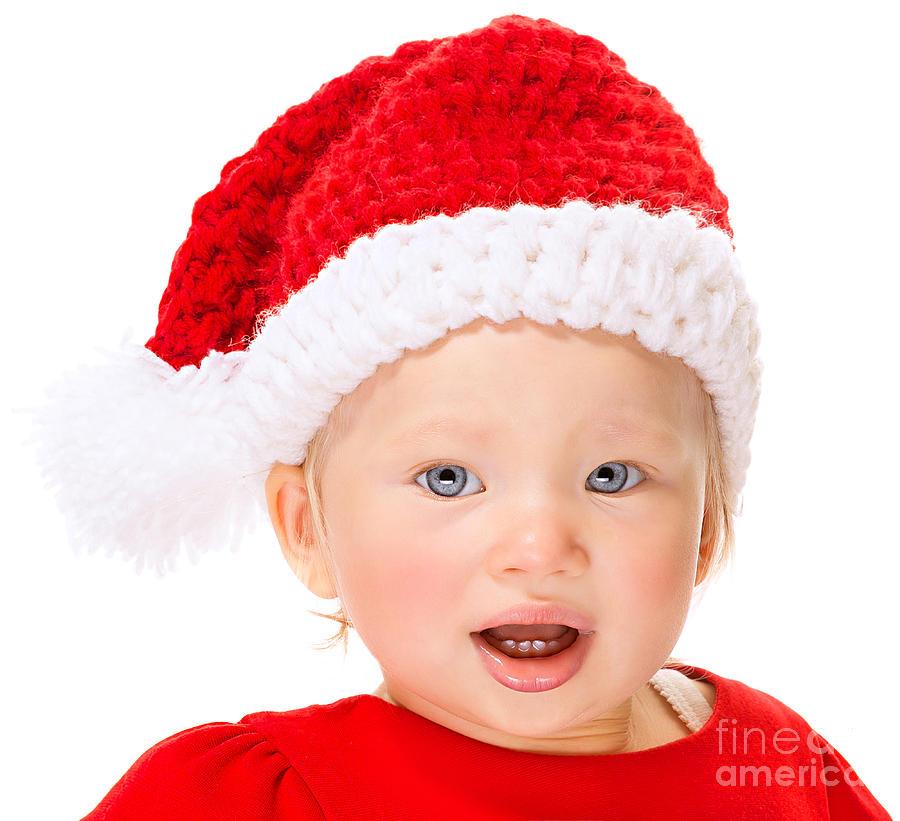 8615293ba Accessories Photograph - Cute Santa Baby Portrait by Anna Om