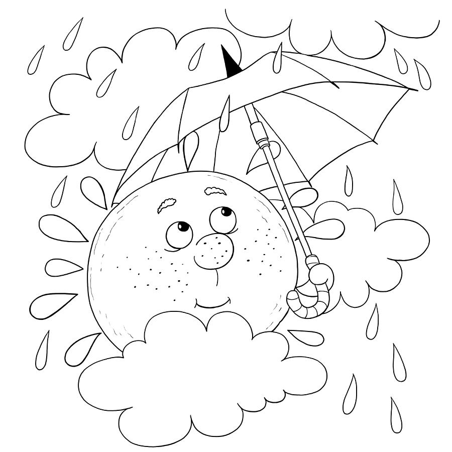 Cute sun in the sky in rainy weather illustration for children coloring page funny cartoon characters by haso