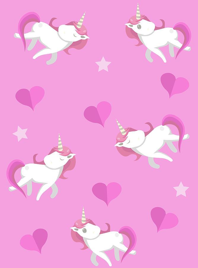 Cute Unicorns Seampless Pattern With Digital Art by Larysa Amosova