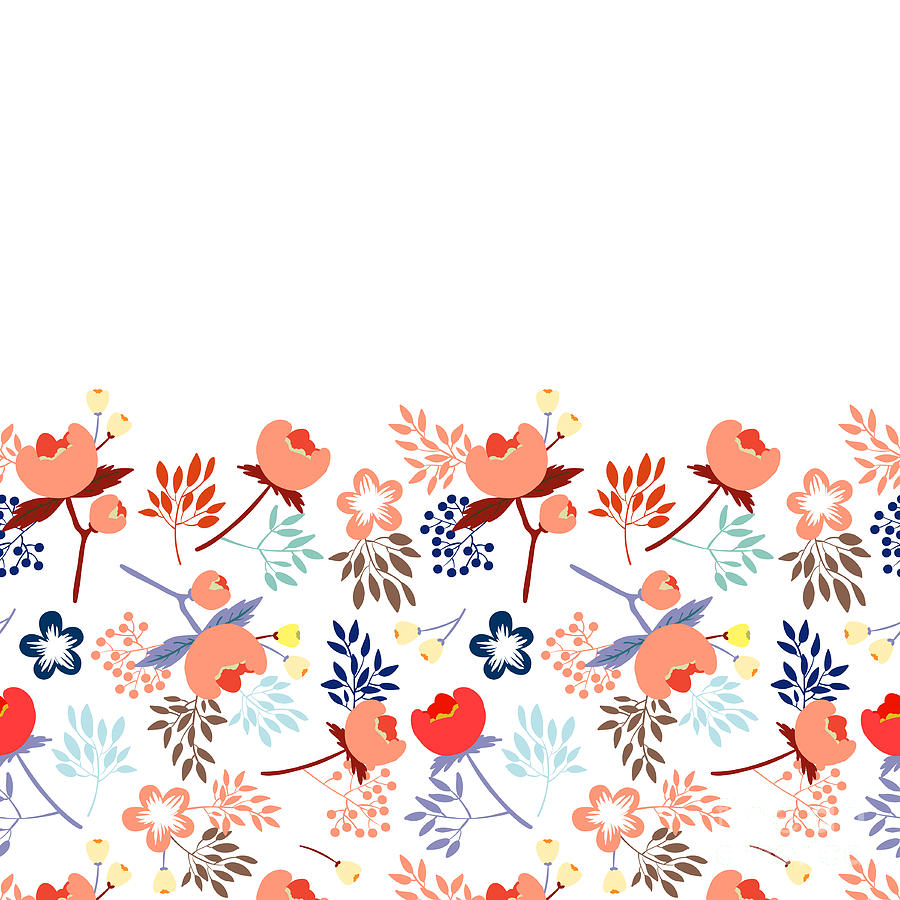 Beauty Digital Art - Cute Vector Seamless Pattern With by Vavavka