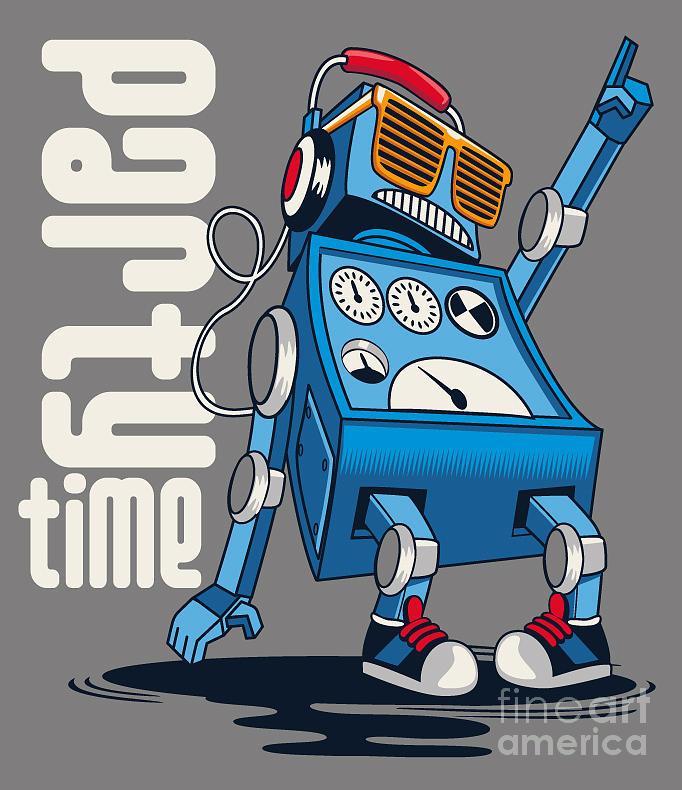 Decorate Digital Art - Cute Vintage Dancer Robot, Party, Vector by Braingraph