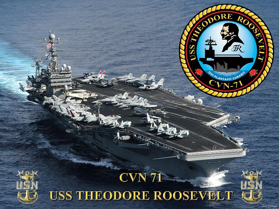 Cvn Digital Art - Cvn-71 Uss Theodore Roosevelt by Mil Merchant