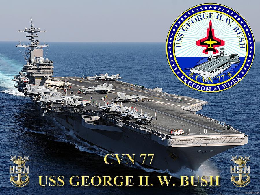 Cvn 77 Uss George H W Bush Digital Art By Mil Merchant
