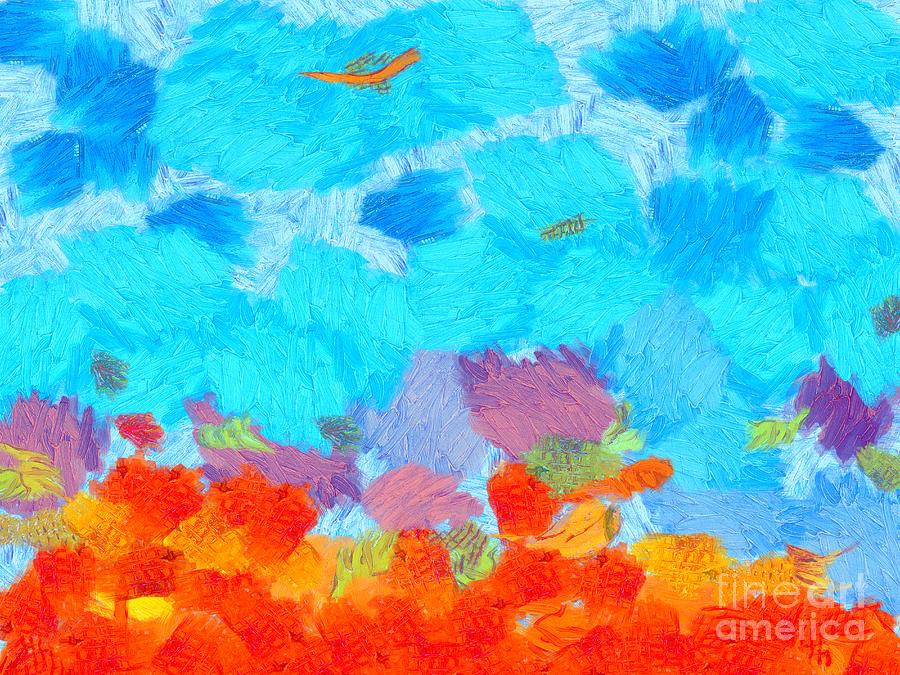 Hot Painting - Cyan Landscape by Pixel Chimp