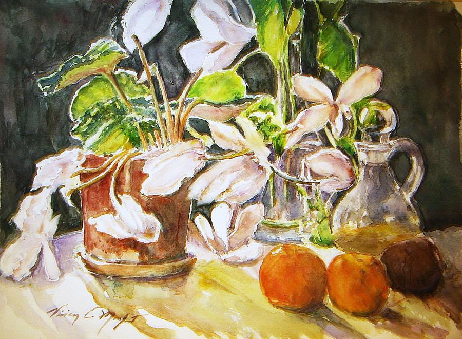 Watercolor Painting - Cyclamen With Tangerines And Kiwi by Vivian  Castillo M