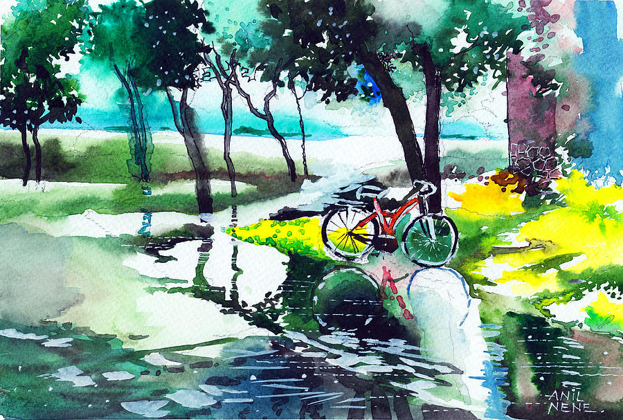 Nature Painting - Cycle In The Puddle by Anil Nene