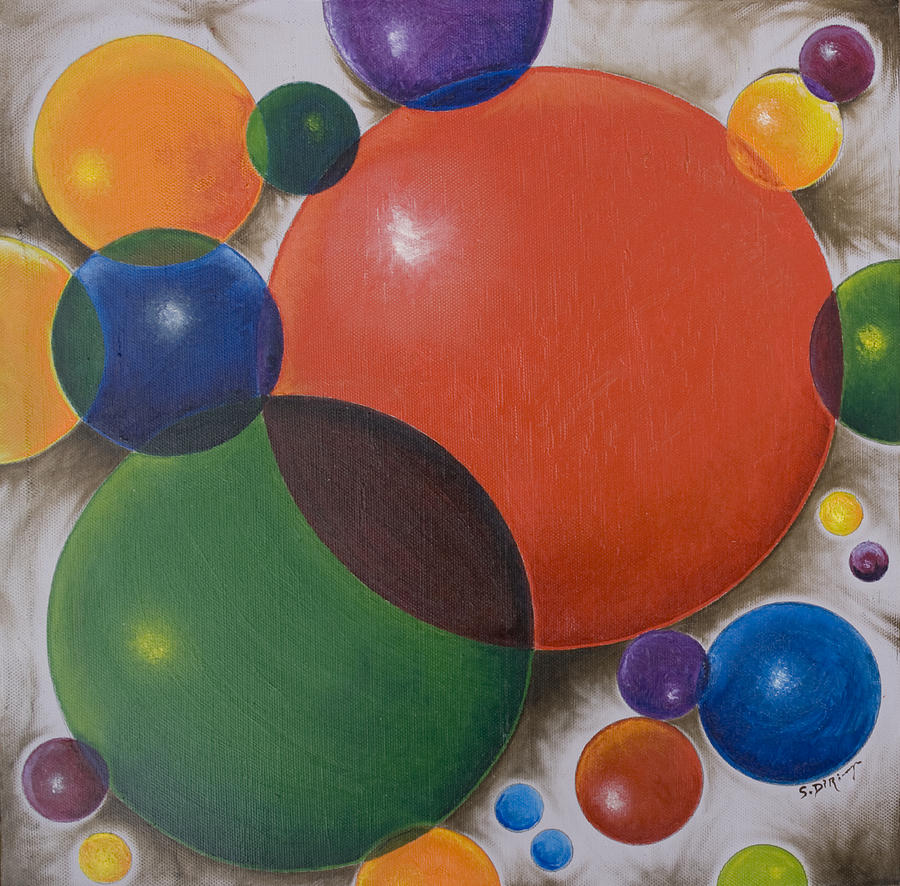 Abstract Painting - Cycles of Circular Motion by Stephen J DiRienzo