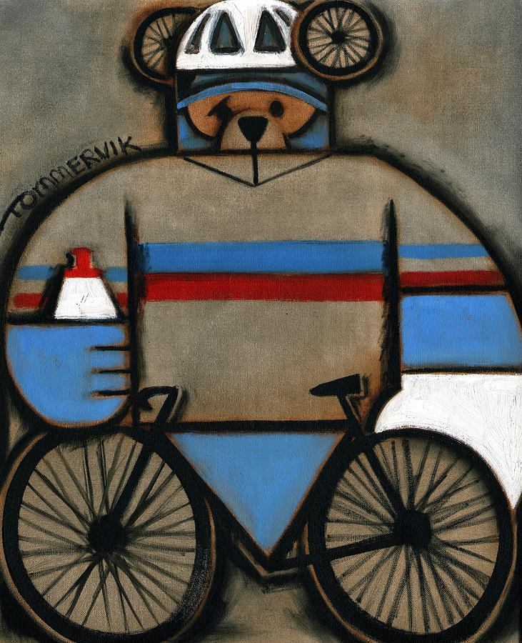 Cycling Painting - Tommervik Cycling Bear by Tommervik