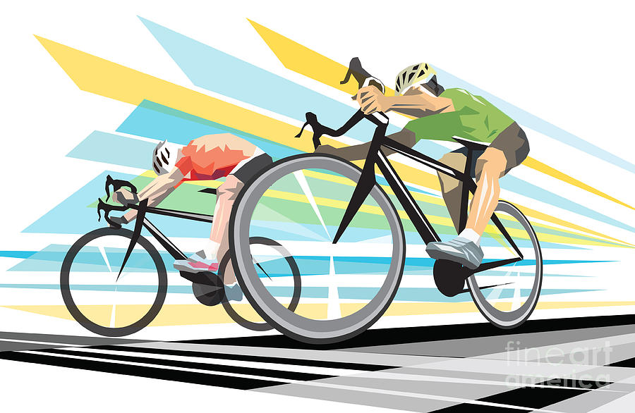 Line Art Posters : Cycling sprint poster print finish line digital art by