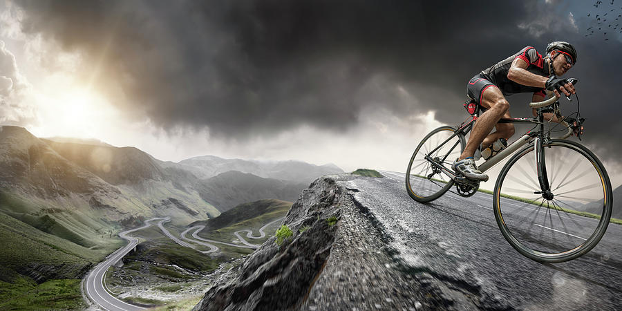 Sports Helmet Photograph - Cyclist Climbs To The Top by Peepo