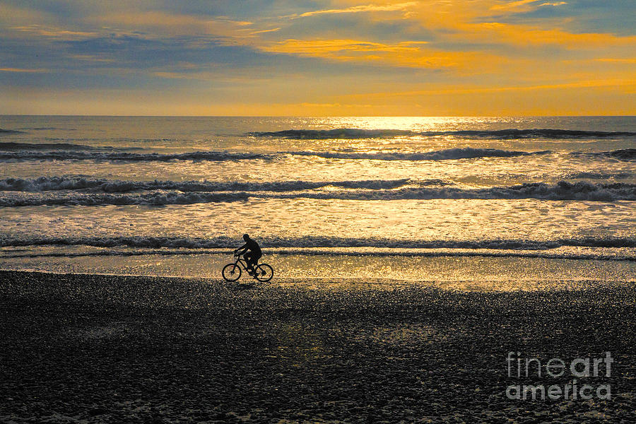Beach Photograph - Cyclist On Beach South Island by Sheila Smart Fine Art Photography