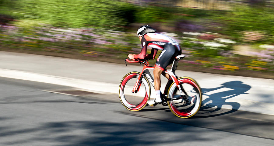Cyclist Racing the Clock by Kevin Desrosiers
